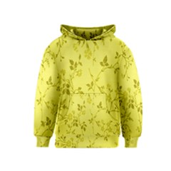 Flowery Yellow Fabric Kids  Pullover Hoodie