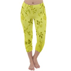 Flowery Yellow Fabric Capri Winter Leggings
