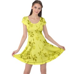 Flowery Yellow Fabric Cap Sleeve Dresses