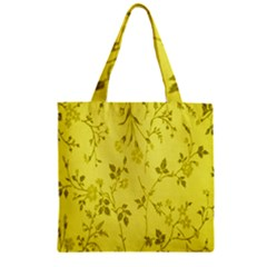 Flowery Yellow Fabric Zipper Grocery Tote Bag
