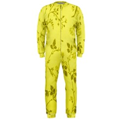 Flowery Yellow Fabric Onepiece Jumpsuit (men)
