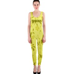 Flowery Yellow Fabric OnePiece Catsuit