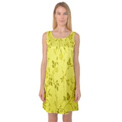 Flowery Yellow Fabric Sleeveless Satin Nightdress