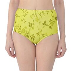 Flowery Yellow Fabric High-Waist Bikini Bottoms