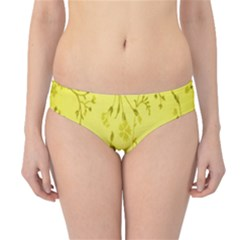 Flowery Yellow Fabric Hipster Bikini Bottoms