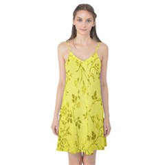Flowery Yellow Fabric Camis Nightgown