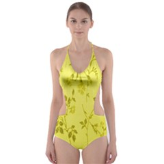 Flowery Yellow Fabric Cut-Out One Piece Swimsuit