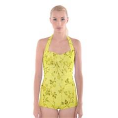 Flowery Yellow Fabric Boyleg Halter Swimsuit