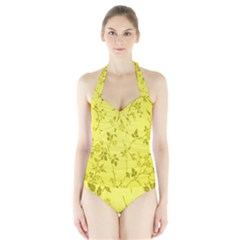 Flowery Yellow Fabric Halter Swimsuit