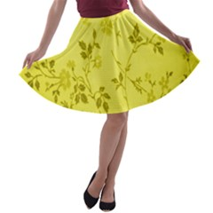 Flowery Yellow Fabric A-line Skater Skirt