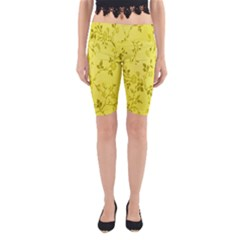 Flowery Yellow Fabric Yoga Cropped Leggings