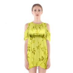 Flowery Yellow Fabric Shoulder Cutout One Piece