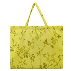 Flowery Yellow Fabric Zipper Large Tote Bag