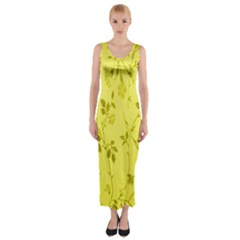 Flowery Yellow Fabric Fitted Maxi Dress