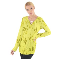 Flowery Yellow Fabric Women s Tie Up Tee