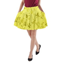 Flowery Yellow Fabric A-Line Pocket Skirt