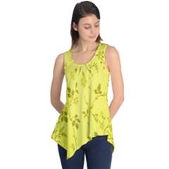 Flowery Yellow Fabric Sleeveless Tunic