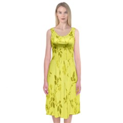 Flowery Yellow Fabric Midi Sleeveless Dress