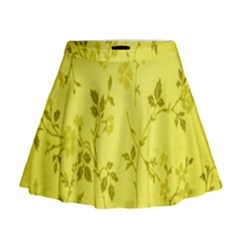 Flowery Yellow Fabric Mini Flare Skirt