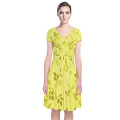 Flowery Yellow Fabric Short Sleeve Front Wrap Dress