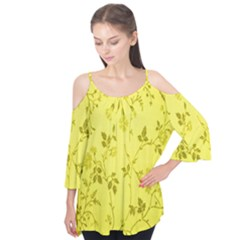 Flowery Yellow Fabric Flutter Tees