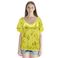 Flowery Yellow Fabric Flutter Sleeve Top
