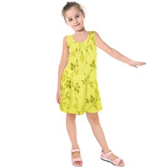 Flowery Yellow Fabric Kids  Sleeveless Dress