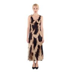 Giraffe Texture Yellow And Brown Spots On Giraffe Skin Sleeveless Maxi Dress