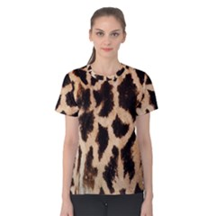 Giraffe Texture Yellow And Brown Spots On Giraffe Skin Women s Cotton Tee