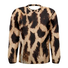 Giraffe Texture Yellow And Brown Spots On Giraffe Skin Men s Long Sleeve Tee