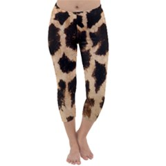 Giraffe Texture Yellow And Brown Spots On Giraffe Skin Capri Winter Leggings