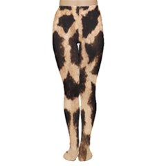 Giraffe Texture Yellow And Brown Spots On Giraffe Skin Women s Tights