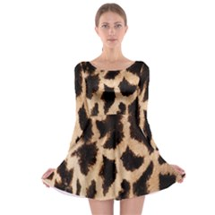 Giraffe Texture Yellow And Brown Spots On Giraffe Skin Long Sleeve Skater Dress
