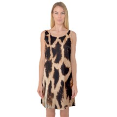 Giraffe Texture Yellow And Brown Spots On Giraffe Skin Sleeveless Satin Nightdress