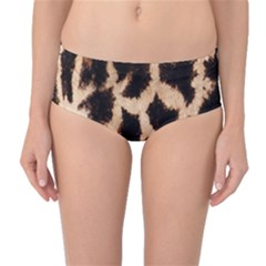 Giraffe Texture Yellow And Brown Spots On Giraffe Skin Mid-Waist Bikini Bottoms
