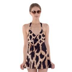Giraffe Texture Yellow And Brown Spots On Giraffe Skin Halter Swimsuit Dress