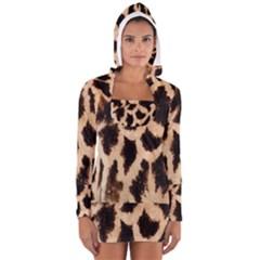 Giraffe Texture Yellow And Brown Spots On Giraffe Skin Women s Long Sleeve Hooded T-shirt