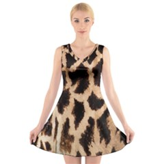Giraffe Texture Yellow And Brown Spots On Giraffe Skin V Neck Sleeveless Skater Dress