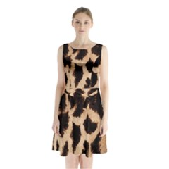 Giraffe Texture Yellow And Brown Spots On Giraffe Skin Sleeveless Chiffon Waist Tie Dress