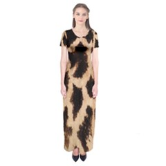 Giraffe Texture Yellow And Brown Spots On Giraffe Skin Short Sleeve Maxi Dress