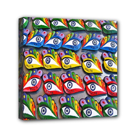 The Eye Of Osiris As Seen On Mediterranean Fishing Boats For Good Luck Mini Canvas 6  x 6