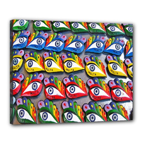 The Eye Of Osiris As Seen On Mediterranean Fishing Boats For Good Luck Canvas 20  x 16