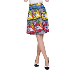 The Eye Of Osiris As Seen On Mediterranean Fishing Boats For Good Luck A-Line Skirt