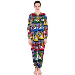The Eye Of Osiris As Seen On Mediterranean Fishing Boats For Good Luck OnePiece Jumpsuit (Ladies)