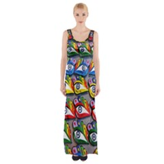 The Eye Of Osiris As Seen On Mediterranean Fishing Boats For Good Luck Maxi Thigh Split Dress