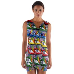 The Eye Of Osiris As Seen On Mediterranean Fishing Boats For Good Luck Wrap Front Bodycon Dress