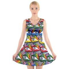 The Eye Of Osiris As Seen On Mediterranean Fishing Boats For Good Luck V Neck Sleeveless Skater Dress