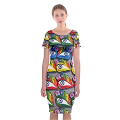 The Eye Of Osiris As Seen On Mediterranean Fishing Boats For Good Luck Classic Short Sleeve Midi Dress