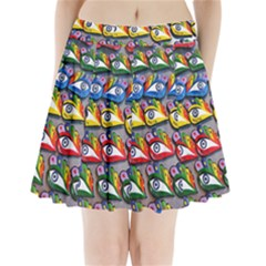 The Eye Of Osiris As Seen On Mediterranean Fishing Boats For Good Luck Pleated Mini Skirt