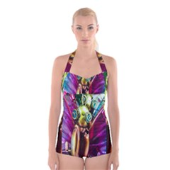 Magic Butterfly Art In Glass Boyleg Halter Swimsuit